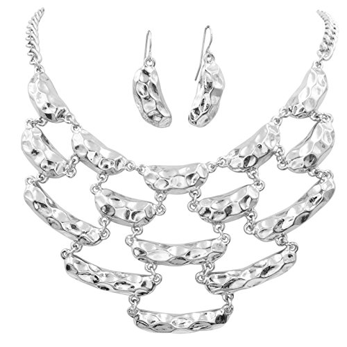 Gypsy Jewels Abstract Textured Ovals Bib Statement Silver Tone Boutique Necklace & Earrings Set (Hammered Curved Ovals)