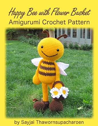 Happy Bee with Flower Basket Amigurumi Crochet Pattern (Big