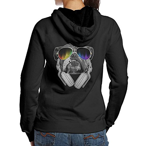 Bulldog DJ Long Sleeve Simple Style Hoodie Sweatshirt Jumper Casual Hooded Pullover For (Ucla College Leather)