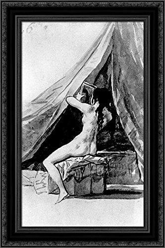 Naked Girl Looking in The Mirror 24x16 Black Ornate Wood Framed Canvas Art by Francisco Goya - Francisco Wood Mirror