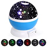 Baby Star Lights Projector, Night Light 3 Mode 360 Degree Rotating Lamp Color Changing for Kids Bedroom, Wedding, Birthday, Parties (Blue)