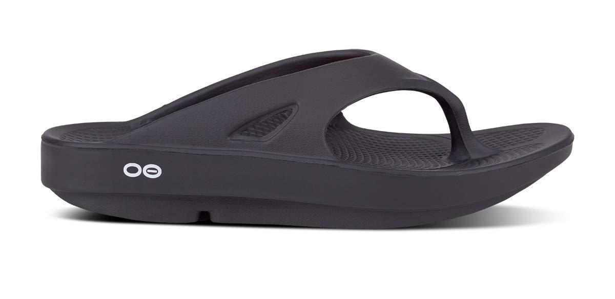 OOFOS Unisex Original Thong flip flop, Black, 6 M US Women/4 M US Men's