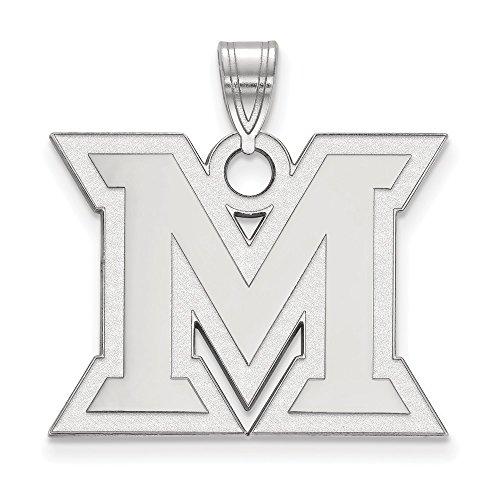 14k White Gold LogoArt Official Licensed Collegiate Miami University (MU) Large Pendant by Logo Art