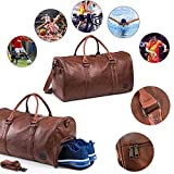 Leather Travel Bag with Shoe Pouch, Waterproof