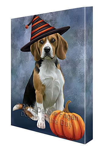 Happy Halloween Beagles Dog Wearing Witch Hat with Pumpkin Canvas Wall Art