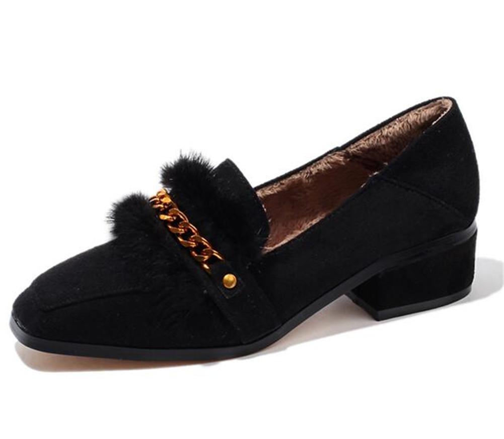 Zapatos de mujer Punta cuadrada Hebilla de metal Mocasines planos Forro de piel Tamaño 35 a 43 , Black , EU43 EU43|Black