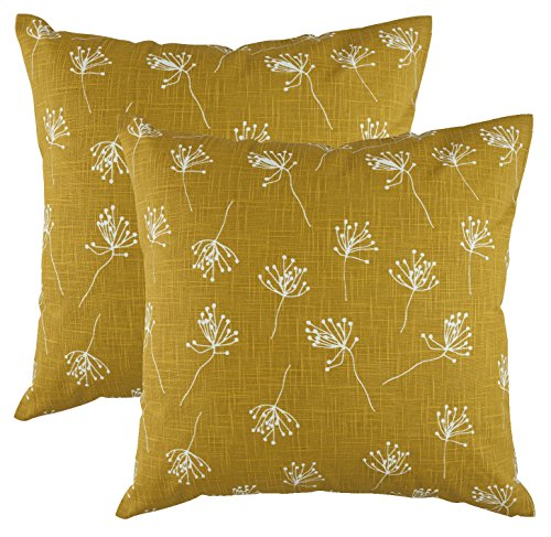 TreeWool, (Pack of 2) Dandelion Accent Throw Pillow Covers in Cotton Slub Fabric (18 x 18 Inches; Mustard) (Mustard Yellow Throw Pillows)
