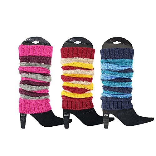 3 Pack Women's Fall Winter Warm Colorful Striped Multicolor Knit Leg Warmers Long Socks Stockings (Pink Red -