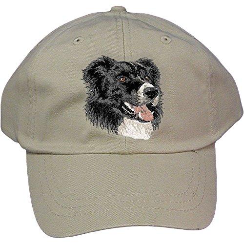 Cherrybrook Dog Breed Embroidered Adams Cotton Twill Caps - Stone - Border Collie