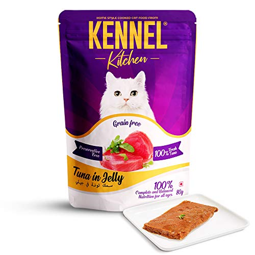 Kennel Kitchen Grain Free Wet Cat Food for Adults and Kittens, Tuna in Jelly, 12 Pouches (12 x 80 GMS)
