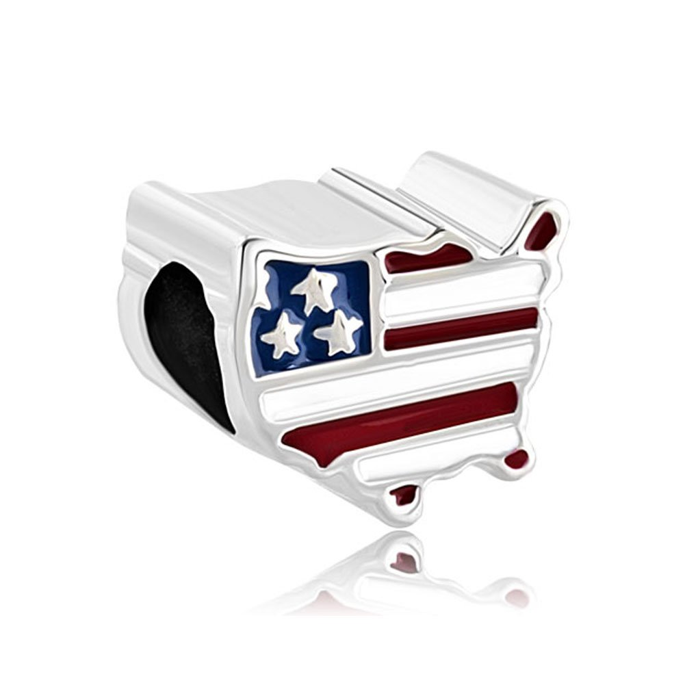 CharmsStory Sterling Silver Love Travel Charms American Map USA Flag Beads Charm For Bracelets