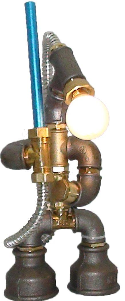 E2С-Loft Handmade Lamp- Steampunk Industrial Style Pipe Desk Light with Dimmer - Star Wars-Robot SP Jedi (02Multi)