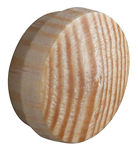 20 Stück - GedoTec® Lochabdeckungen Abdeckkappen Holz für Blind-Bohrung Ø 15 mm | Massivholz Kiefer naturbelassen | Gesamt Ø 17 mm | Kappen rund zum Eindrücken | Markenqualität für Ihren Wohnbereich