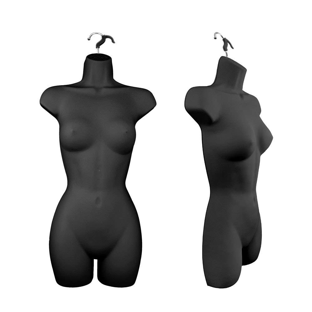 Only Hangers Women's Torso Female Plastic Hanging Mannequin Body Form Black - Pack of (1)