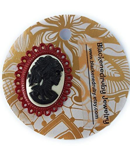 Dead Lady Cameo Brooch - Dark (Cameo Oval Brooch)