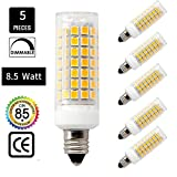 E11 led bulb 75W or 100W halogen bulbs replacement,850 lumens, JD e11 mini candelabra base 110V 120V 130V voltage input, warm white 3000K (pack of 5)