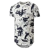 YININF Mens Hipster Hip-Hop Premiun Tees - Stylish Longline Latest Fashion Print T-Shirts Blue S (87)