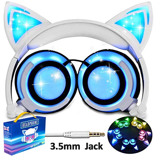 Glowing Cat Ear Headphones for Kids Girls Boys Toddlers, Foldable Rechargeable Volume Limited Earphones LED Light Up Wired On/Over Game Headset for Tablets PC Birthday Christmas Ideal Gifts by Qiwoo