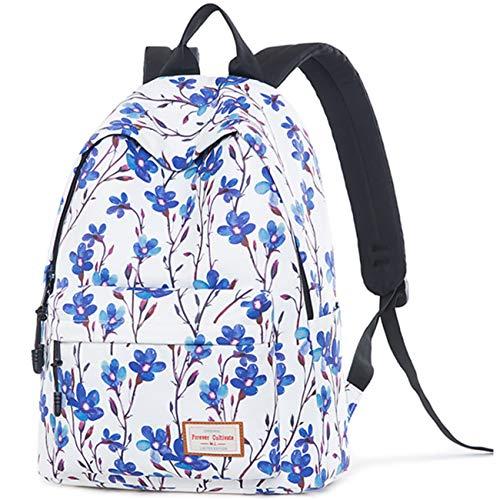 Mochila escolar para niñas, niños, bolsa impermeable para computadora portátil, bolsa de viaje para estudiantes universitarios, mochila de viaje para mujer (flor azul)