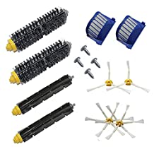 Theresa Hay New 2 Bristle Flexible Beater 4 Armed Brush 4 Screw 2 Aero Vac Filter for iRobot Roomba 500 600 Series 528 529 550 595 610 620 625 630 650 655 660 670