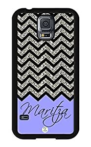 iZERCASE Samsung Galaxy S5 Case Personalized Lavender Chevron Pattern RUBBER CASE ((NOT GLITTERY) - Fits Samsung Galaxy S5 T-Mobile, Sprint, Verizon and International (Black)