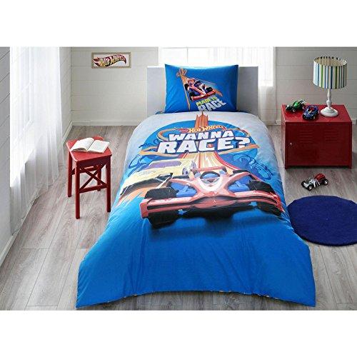 TI Home Hot Wheels Race Licensed Duvet Cover Set, 100% Cotton Ranforce, Single Size 3-Piece Bedding Set ()