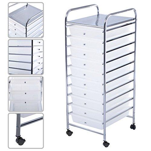 LTL Shop 10 Drawer Rolling Storage Clear Cart Scrapbook Paper Office