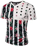 Pizoff Unisex Short Sleeve V-Neck 3D Contrast Strips and Stars Floral Print Breathable Slim T-Shirt Y1781-07-L