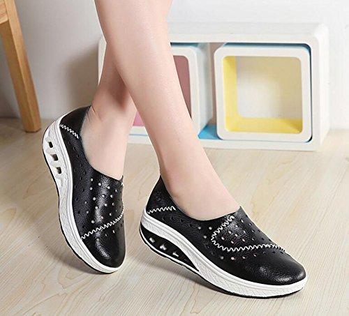 de Zapatos Negro Desgaste de con Cuero Marea Casuales Resistentes Zapatos Mujer Zapatos Mujeres de Zapatos Orificios Zapatos 2018 Verano al Zapatos tamaño Color Guisantes para 41 de wPSzqz