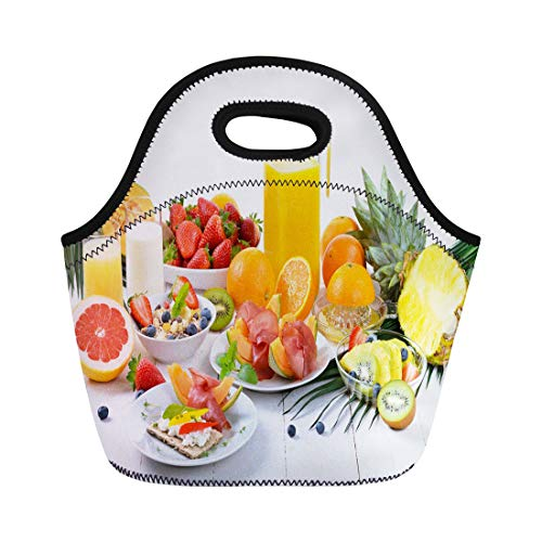 Semtomn Lunch Bags Colorful Table Healthy Breakfast Fresh Fruit Crispbread Lean Ham Neoprene Lunch Bag Lunchbox Tote Bag Portable Picnic Bag Cooler Bag
