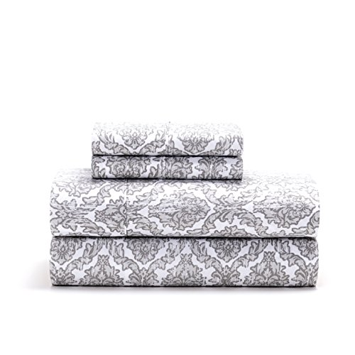 S.L. Home Fashions, Inc. Cameron Super Soft Microfiber 4 Pc. Sheet Set, Queen, Gray (Gray And White Floral Bedding)