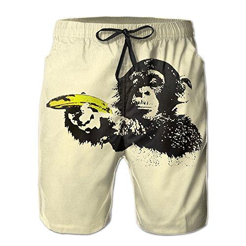 Men's Monkey Banana Shoot Funny Animal Summer Swim Trunk Beach Shorts -