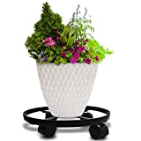 """14"""" Metal Plant Caddy Heavy Duty Iron Potted Plant Stand With Wheels Round Flower Pot Rack on Rollers Dolly Holder on Wheels Indoor Outdoor Planter Trolley Casters Rolling Tray Coaster Black"""