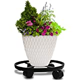 "14"" Metal Plant Caddy Heavy Duty Iron Potted Plant Stand With Wheels Round Flower Pot Rack on Rollers Dolly Holder on Wheels Indoor Outdoor Planter Trolley Casters Rolling Tray Coaster Black"