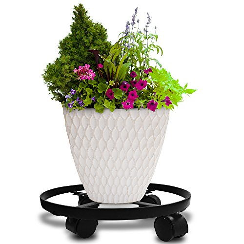 Plant Caddy HEAVY DUTY Iron Potted Plant Stand with Wheels Round Flower Pot Rack on Rollers Dolly Holder on Wheels Indoor Outdoor Planter Trolley Casters Rolling Tray Coaster Black (Iron Plant Stand)