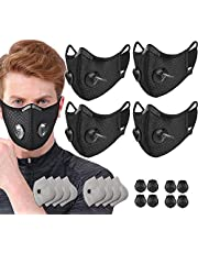 4 Pack Black Adult Unisex Sport Dust Mouth Cover Adjustable Reusable Washable Cycling Masks with 8 Breathing Valves and 8 Carbon Filters for Bicycle Riding Running Outdoor