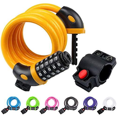 NDakter Bike Lock Cable,4 Feet High Security 5 Digit Resettable Combination Coiling Bike Cable...