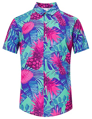 (TUONROAD Casual Holiday Vacation Outing Hawaiian Luau Shirt Designer Button Up Shirt Green Blue Pink Paint Ananas Leaves Boys Juniors Fitted Short Sleeve Loud Shirt Awesome Aloha Attire Wear)