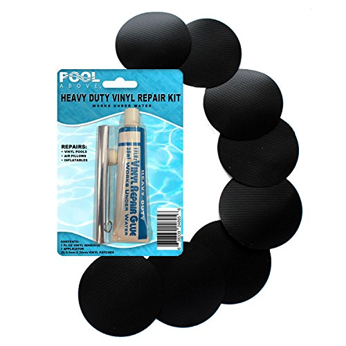 "Pool Above 8X Black 2"" Round Patch+Vinyl Repair Kit for Inflatables Boat Raft Kayak Air Beds"