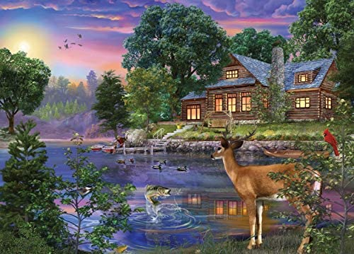 1000Piece Ceaco 3159-2 Weekend Retreat White Tail Deer Lakehouse Puzzle