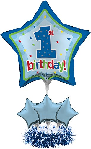 Creative Converting Balloon Centerpiece Kit, 1st Birthday Boy - Birthday Table Centerpieces