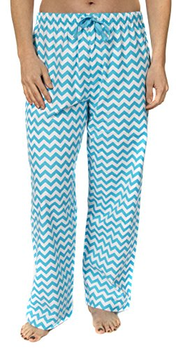 Zig Zag Kitty - Leisureland Women's Pure Cotton Flannel Pajama Sleep Lounge Pants Chevron Print (X-Large)