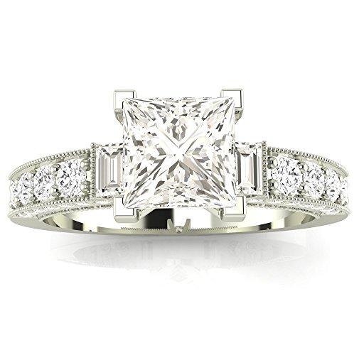 14K White Gold 1.58 CTW Princess Cut Gorgeous Prong Set Round And Half Bezel Baguette Diamond Engagement Ring, J Color VS1-VS2 Clarity Center Stone by Houston Diamond District