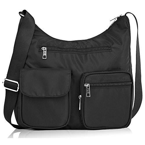 Shoulder Carryall Blocking Travel BA10 RFID Multi Lightweight Pocket Bag Handbag Black Protection Crossbody Suvelle Snvw4Fxnq