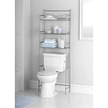bathroom etagere spacesaver stand rack from metal 3 tier shelf unit satin nickel - Bathroom Etagere