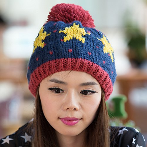4 3 de Bola Sombrero Maozi Versión Gorra han Punto de Dibujos Jacquard Chao con Estrellas Grande de Lana SSFHaq