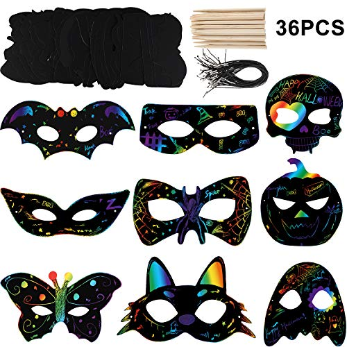 Spider Crafts For Halloween (36 Sets Halloween Scratch Paper with Cat Pumpkin Bat Spider Design Scratch Masks, Elastic Cords and Wood Stylus for Halloween Costume Dress up Party)