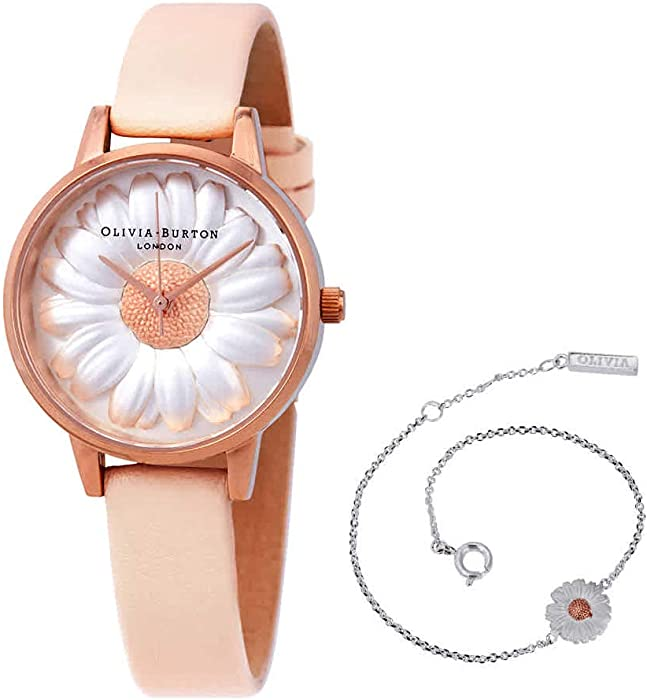 1ed7039877ef Amazon.com  Olivia Burton 3D Daisy White Dial Ladies Watch ...