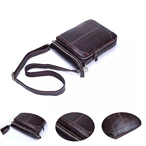 Namneblue Herren Echtes Leder Handtasche Schultertasche Messenger Bag Aktentasche Vertical Klassich Mit Reißverschluss