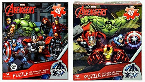 Bundle Set of 2 Avengers Jigsaw Puzzles Featuring Captain America, Hulk, Thor, Black Widow, Hawkeye, Iron Man, Nick Fury (48 Pieces Each) Marvel Super Heroes -